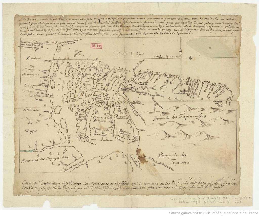 Carte de l ' embouchure de la Rivière des Amazones et des Isles qui s ' y trouvent ou les Portugais ont baty plusieurs forteresses: Cette carte a été aportée de Portugal par M. Labbé d'Estrées / et je crois qu'elle a été faite par Texeira Géographe du R. de Portugal