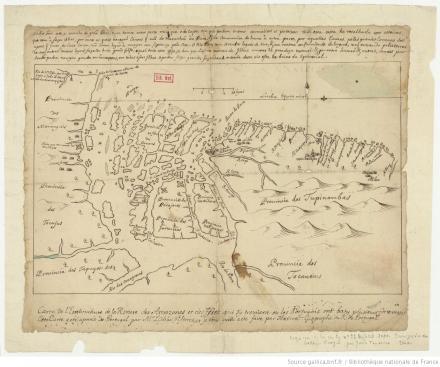 Carte de l'embouchure de la Rivière des Amazones et des Isles qui s'y trouvent ou les Portugais ont baty plusieurs forteresses: Cette carte a été aportée de Portugal par M. Labbé d'Estrées / et je crois qu'elle a été faite par Texeira Géographe du R. de Portugal