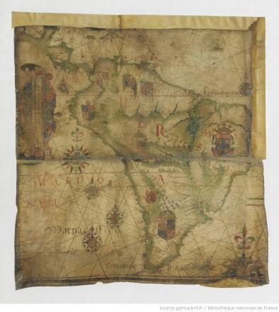 [Fragment d'une carte nautique représentant les côtes de l'Amérique centrale et de l'Amérique du sud sur l'Océan Atlantique et sur l'Océan Pacifique, 159.] / [Luiz Teixeira]