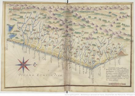 """Capitania de Pernambuco, """"Livro em que se mostra / a descripçao de toda acosta do estado do Brasil e seus / portos, barras e sondas delas"""""""