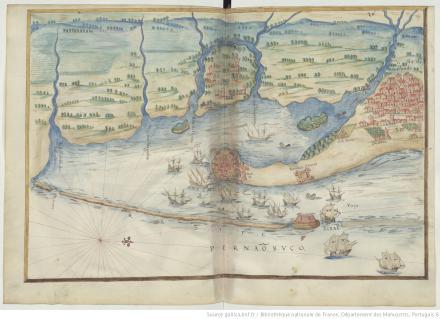 """Pernãobuco, """"Livro em que se mostra / a descripçao de toda acosta do estado do Brasil e seus / portos, barras e sondas delas"""""""