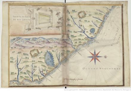 """Pranta do Forte do Rio Grande, """"Livro em que se mostra / a descripçao de toda acosta do estado do Brasil e seus / portos, barras e sondas delas"""""""
